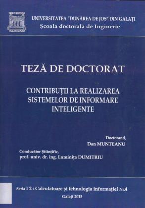Cover for Contribuții la realizarea sistemelor de informare inteligente: teză de doctorat