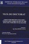 Cover for Cercetări privind utilizarea tehnicilor combinate de uscare aplicate unor fructe şi legume: teză de doctorat