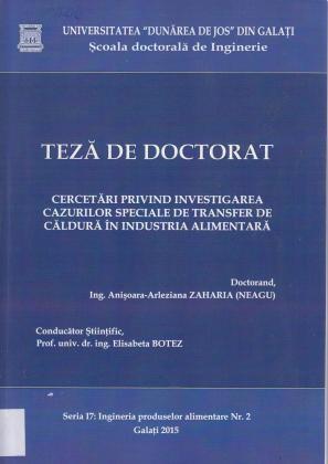 Cover for Cercetări privind investigarea cazurilor speciale de transfer de căldură în industria alimentară: teză de doctorat