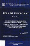 Cover for Contribuţii privind studiul comportării la uzură a unor compozite cu matrice polimerică destinate recondiţionării pieselor metalice: teză de doctorat