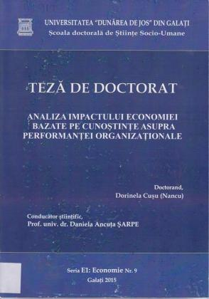 Cover for Analiza impactului economiei bazate  pe cunoştinţe asupra performanţei organizaţionale: teză de doctorat