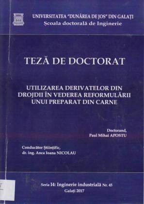 Cover for Utilizarea derivatelor din drojdii  în vederea reformulării unui preparat din carne: teză de doctorat