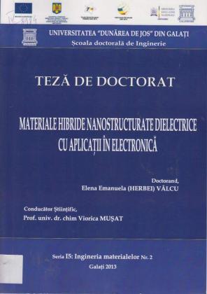Cover for Materiale hibride nanostructurate dielectrice  cu aplicaţii în electronică: teză de doctorat