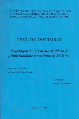 Cover for Reşedinţele boiereşti din Moldova în prima jumătate a secolului al XVII-lea: teză de doctorat