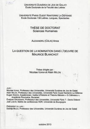 Cover for Problema numirii lucrurilor în opera lui Maurice Blanchot (La question de la nomination dans l'oeuvre de Maurice Blanchot): teză de doctorat