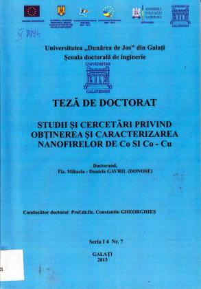 Cover for Studii şi cercetări privind obţinerea şi caracterizarea nanofirelor de Co şi Co-Cu: teză de doctorat