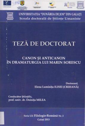 Cover for Canon şi anticanon în dramaturgia lui Marin Sorescu: teză de doctorat