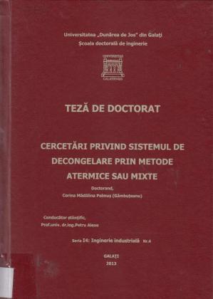 Cover for Cercetări privind sistemul de decongelare prin metode atermice sau mixte: teză de doctorat