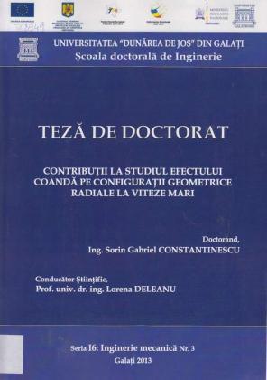 Cover for Contribuţii la studiul efectului Coandă pe configuraţii geometrice radiale la viteze mari: teză de doctorat