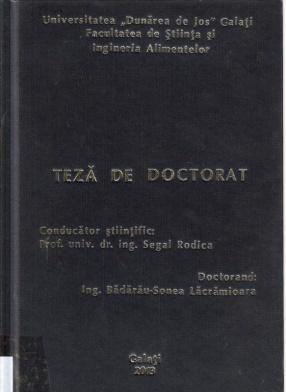 Cover for Studii privind calitatea alimentației într-o colectivitate a municipiului Focșani: teză de doctorat