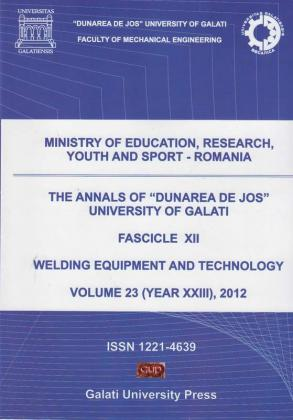 """Cover for The Annals of """"Dunarea de Jos"""" University of Galati,  Fascicle XII, Welding Equipment and Technology"""
