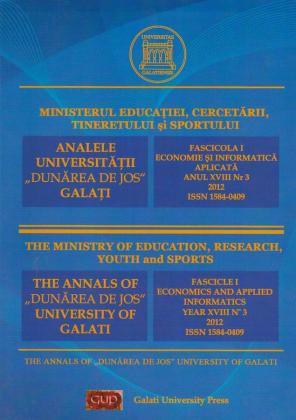 "Cover for The Annals of ""Dunarea de Jos"" University of Galati,  Fascicle I, Economics and Applied Informatics"
