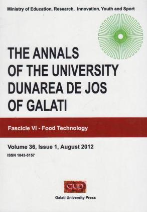 """Cover for The Annals of """"Dunarea de Jos"""" University of Galati.  Fascicle VI, Food Technology"""