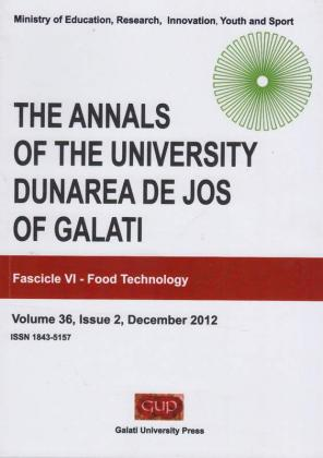 """Cover for The Annals of """"Dunarea de Jos"""" University of Galati,  Fascicle VI, Food Technology"""