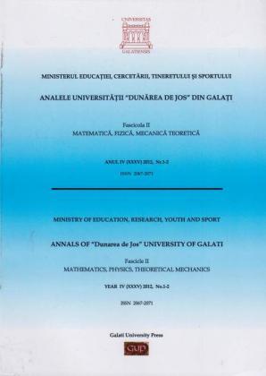 """Cover for Analele Universității """"Dunărea de Jos"""", Fascicula II, Matematică,  Fizică, Mecanică teoretică"""