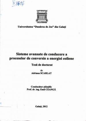 Cover for Sisteme avansate de conducere a proceselor de conversie  a energiei eoliene: teză de doctorat