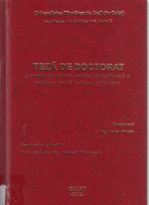 Cover for Contribuţii privind analiza structurală a stărilor limită  la navele tip tanc: teză de doctorat