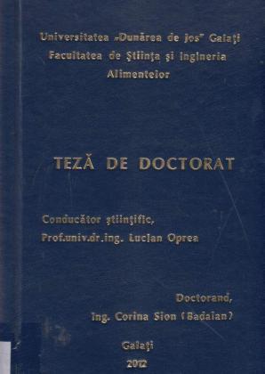 Cover for Cercetări privind evaluarea plasticității tehnologice a speciei Acipenser ruthenus (Linne, 1758), în condiţiile unui sistem recirculant de acvacultură industrială: teză de doctorat