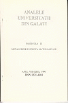 """Cover for The Annals of """"Dunarea de Jos"""" University of Galati, Metalurgy and materials science: nr. 3, 2015, fascicle IX"""