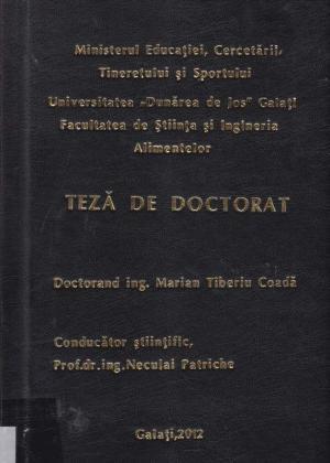 Cover for Cercetări privind evaluarea plasticităţii tehnologice a speciei Polyodon spathula (Walbaum, 1792) în condiţiile unui sistem recirculant de acvacultură industrială: teză de doctorat