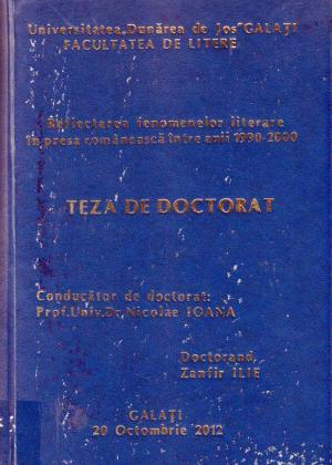 Cover for Reflectarea fenomenelor literare în presa românească între anii 1990 - 2000: teză de doctorat