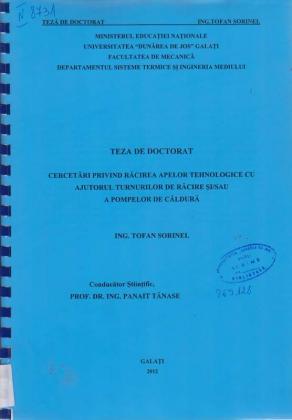 Cover for Cercetări privind răcirea apelor tehnologice cu ajutorul turnurilor de răcire și/sau a pompelor de caldură: teză de doctorat
