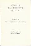 "Cover for The Annals of ""Dunarea de Jos"" University of Galati, Metalurgy and materials science: fascicula IX, 2016, martie, nr. 1"