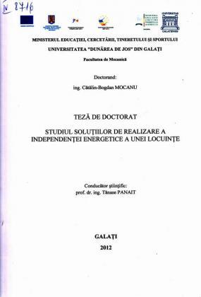 Cover for Studiul soluţiilor de realizare a independenţei energetice  a unei locuinţe: teză de doctorat
