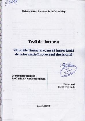 Cover for Situațiile financiare, sursă importantă de informație în procesul decizional: teză de doctorat