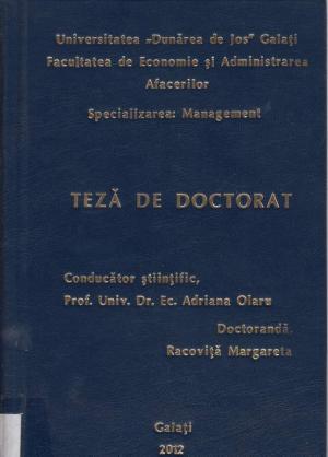 Cover for Managementul performanței activităților desfășurate  în cadrul rețelelor multinaționale de hoteluri  cu reprezentanță în România: teză de doctorat