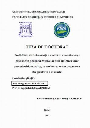Cover for Posibilități de îmbunătățire a calității vinurilor roșii produse în podgoria Murfatlar prin aplicarea unor procedee biotehnologice moderne pentru procesarea strugurilor și a mustului: teză de doctorat