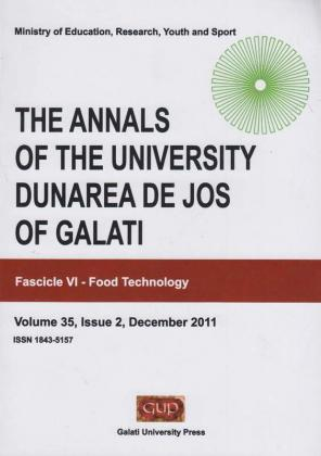 "Cover for The Annals of ""Dunarea de Jos"" University of Galati. Fascicle VI,  Food Technology"