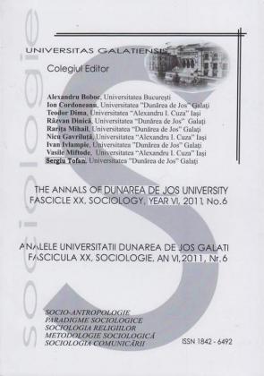 """Cover for Analele Universității """"Dunărea de Jos"""" din Galați,  Fascicula XX, Sociologie"""