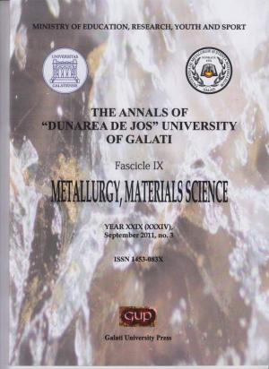 "Cover for *** The Annals of ""Dunarea de Jos"" University of Galati, Fascicle IX, Metallurgy and Materials Science"