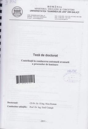 Cover for Contribuţii la conducerea automată avansată a proceselor de laminare: teză de doctorat