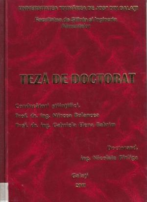 """Cover for Cercetări privind optimizarea tehnologiei de producere  a vinurilor roşii cu denumire de origine """"Bujoru"""": teză de doctorat"""