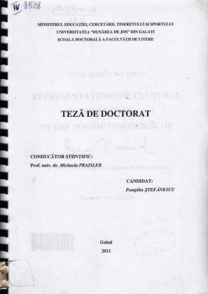 Cover for Reprezentări ale identităţii culturale în opera lui Ezra Pound: teză de doctorat