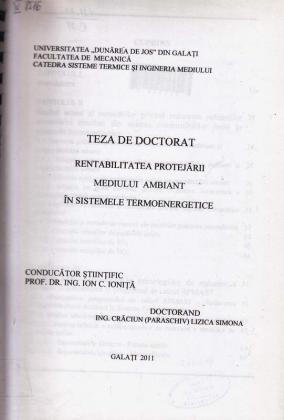 Cover for Rentabilitatea protejării mediului ambiant în sistemele termoenergetice: teză de doctorat