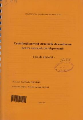 Cover for Contribuţii privind structurile de conducere pentru sistemele de teleprezenţă: teză de doctorat