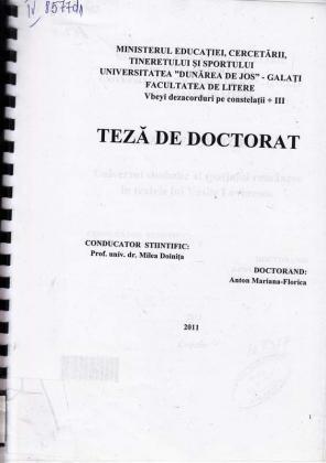Cover for Universul simbolic al spaţiului în textele lui Vasile Lovinescu: teză de doctorat