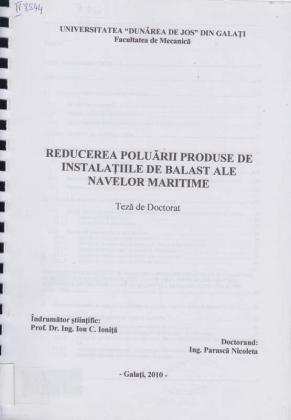 Cover for Reducerea poluării produse de instalaţii de balast ale navelor maritime: teză de doctorat