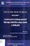Cover for Cercetări cu privire la influenţa maturizării făinii asupra calităţii făinii, reologiei aluatului şi calităţii pâinii: teză de doctorat