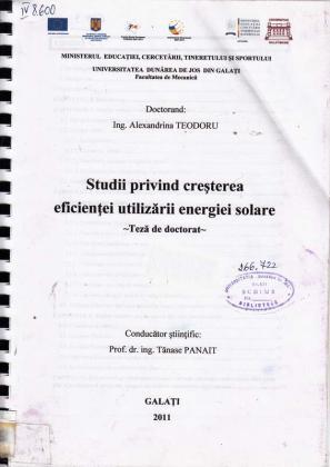 Cover for Studii privind creşterea eficienţei utilizării energiei solare: teză de doctorat