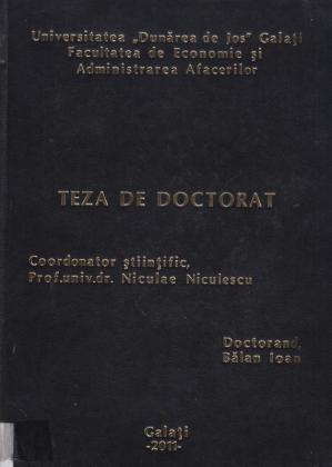 Cover for Management şi performanţă economică în contextul sistemului instituţional democratic: teză de doctorat