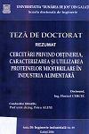 Cover for Cercetări privind obținerea, caracterizarea și utilizarea  proteinelor miofibrilare în industria alimentară: teză de doctorat