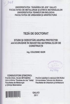 Cover for Studii şi cercetări asupra protecţiei anticorozive în industria materialelor de construcţii: teză de doctorat