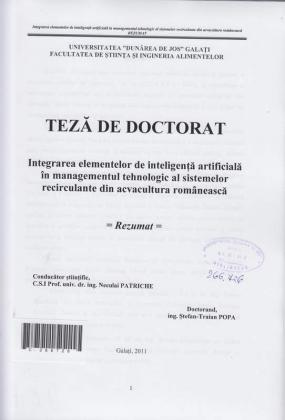 Cover for Integrarea elementelor de inteligență artificială în managementul tehnologic al sistemelor recirculante din acvacultura românească: teză de doctorat