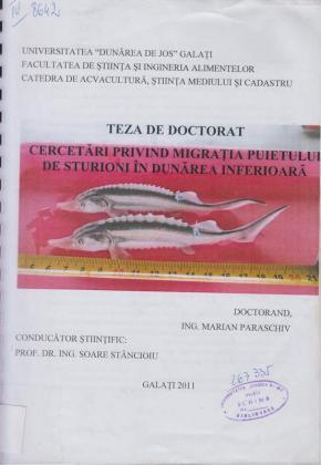 Cover for Cercetări privind migraţia puietului de sturioni în Dunărea inferioară: teză de doctorat