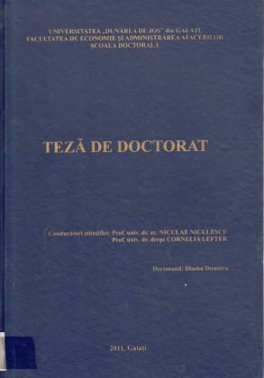 Cover for Studiu comparat privind specificitatea managementului carierei în sistemul judiciar: România versus alte state membre U. E.: teză de doctorat
