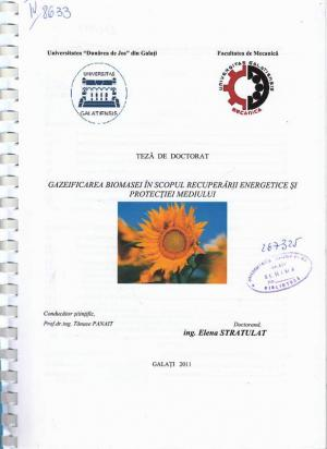 Cover for Gazeificarea biomasei în scopul recuperării energetice şi protecţiei mediului: teză de doctorat